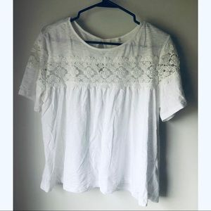 H&M Blouse White w/ Lace Designs Size Large